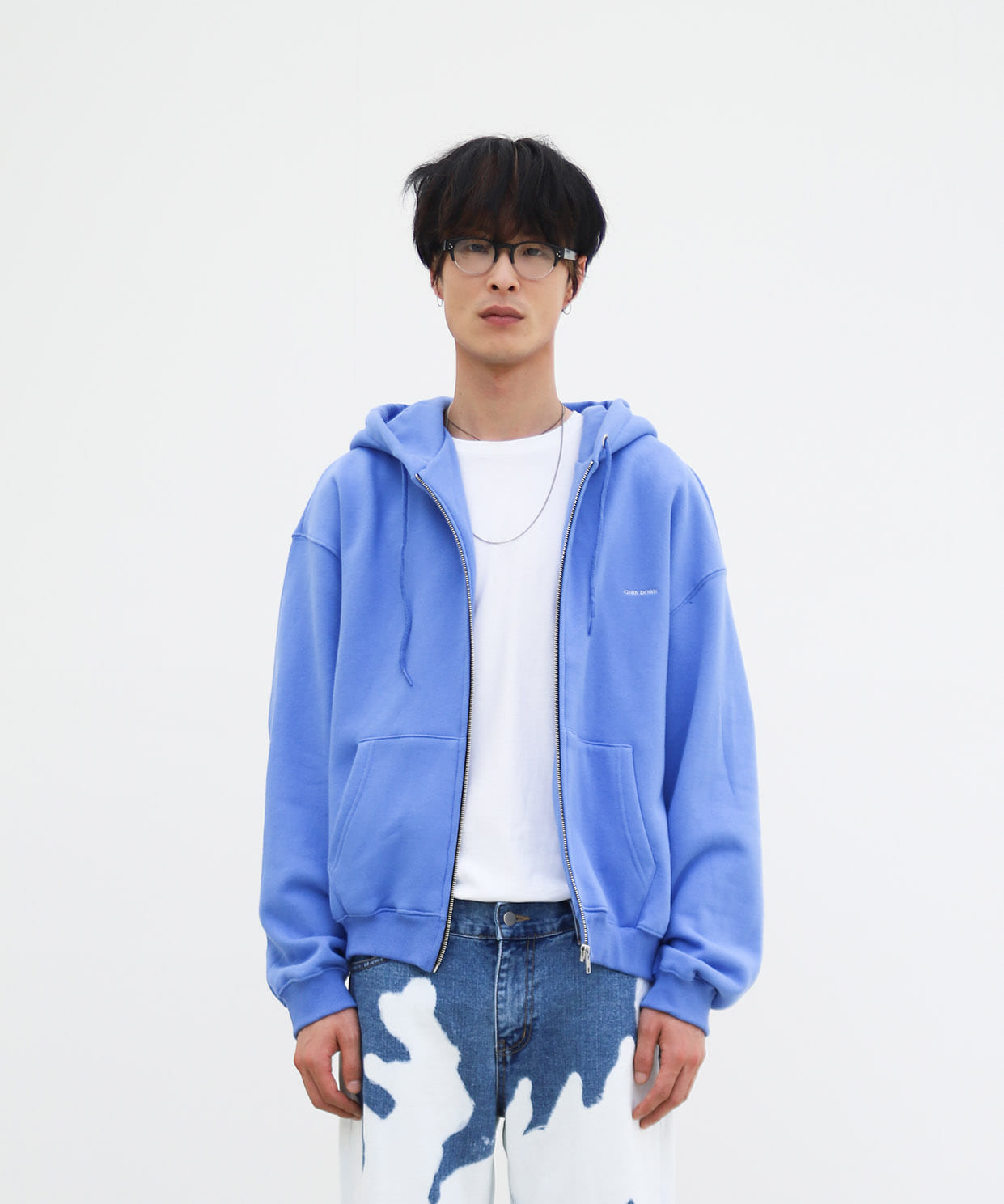ZIP HOODIE BASIC CHIN DOWN (OCEAN BLUE)