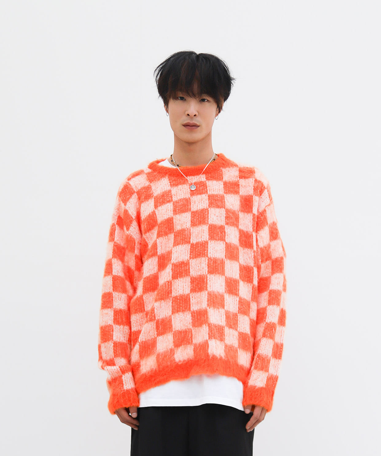 REGULAR ROUNDNECK KNIT CHECKERED (ORANGE)